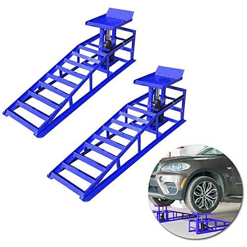 Froadp 2 Auto PKW Auffahrrampen Laderampe Set mit hydraulischem Wagenheber Hebeplattform, bis 225er Reifen 2000 kg