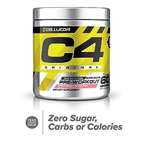 Cellucor C4 Original Pre Workout Powder Strawberry Margarita | Sugar Free Preworkout Energy Supplement for Men & Women | 150mg Caffeine + Beta Alanine + Creatine | 60 Servings