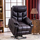 RELAXIXI Power Lift Recliner Chair, Electric Recliners for Elderly, Heated Vibration Massage Sofa with USB Ports, Remote Control, 3 Positions, 2 Side Pockets and Cup Holders (Faux Leather, Brown)
