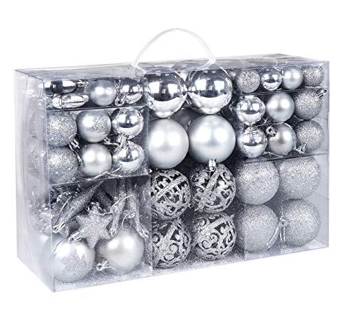 116 Piezas Bolas de Navidad, Adornos de árbol Brillante en Diferentes Formas y Color Plateado, Decoración Navideña con Punta de Estrella para árbol