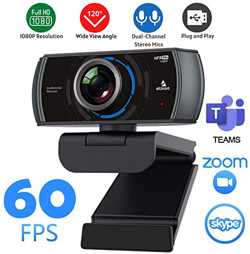2020 1080P 60FPS Webcam with Microphone, NexiGo N980P HD USB Web Camera, Built-in Dual Noise Reduction Mics, 120 Degrees Wide-Angle for Zoom YouTube Skype FaceTime Hangouts, PC Mac Laptop Desktop