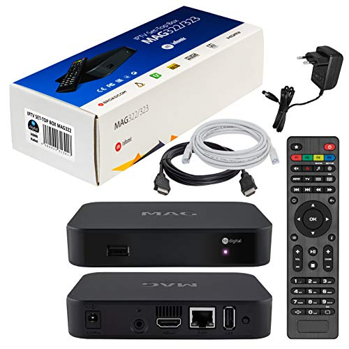 MAG 322 Original Infomir & HB-DIGITAL IPTV Set TOP Box Multimedia Player Internet TV IP Receiver (HEVC H.256 Support) Nachfolger von MAG 254 + HB Digital HDMI Kabel + LAN Patch Kabel