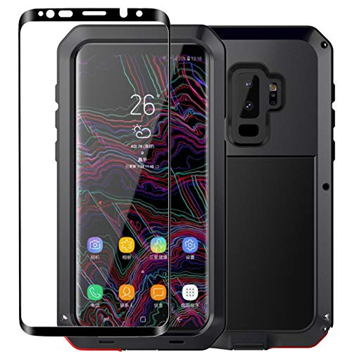 Galaxy S9 Plus Case, Armor Tank Aluminum Metal Shockproof Military Heavy Duty Protector Cover Hard Case and Tempered Glass Screen Protector [Full Screen Coverage] for Samsung Galaxy S9 Plus(Black)