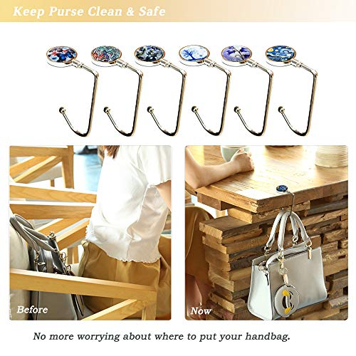 6Pcs Portable Handbag Table Hanger, AUHOKY Fashionable Purse Hook Holder for Women Girls Bags Storage Gift(6 Different Patterns)