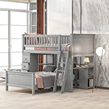 Twin Over Twin Bunk Bed for Kids, Solid Bunk Bed Frame with Drawers and Shelves, Can Be 2 Seperate Beds, No Spring Box Needed, Grey