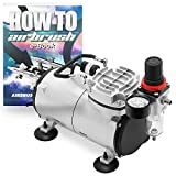 PointZero 1/5 HP Airbrush Compressor - Portable Quiet Hobby Tankless Oil-Less Air Pump