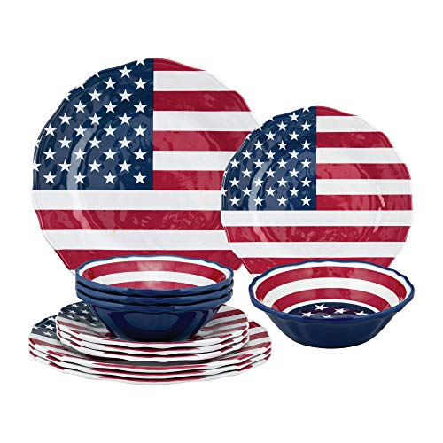 Gourmet Art 12-Piece American Flag Heavyweight and Durable Melamine Dinnerware Set, Service for 4. Includes Dinner Plates, Salad Plates and Bowls. for Indoors Outdoors Use and Everyday Use.