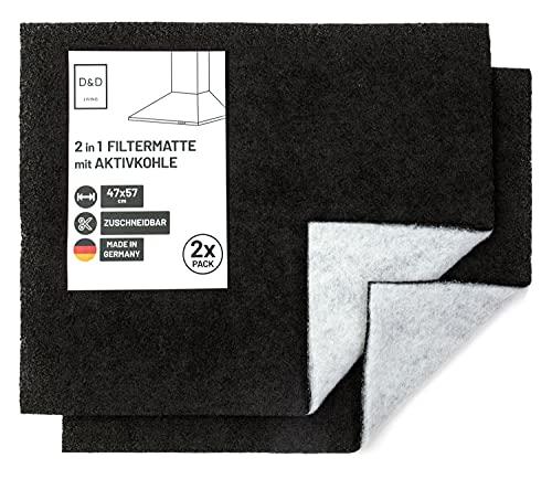 D&D Living Filtro a carboni attivi per cappa aspirante | Set di 2 | telo cappa filtrante con carbone attivo e filtro antigrasso | filtro 57x47 cm pu essere tagliato a misura