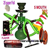 2 Hose Hookah Neon, Two Styles to Choose from 12' Height, Cute Shape Comes with 10 Instant Charcoal, 5 Mouth Tips, 25 foil Paper with Melon Flavor (Style 2, Green)