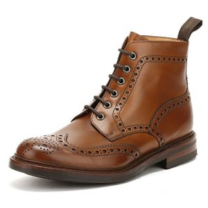 Loake Mens Burnished Calf Bedale Leather Brown Boots 8.5 US