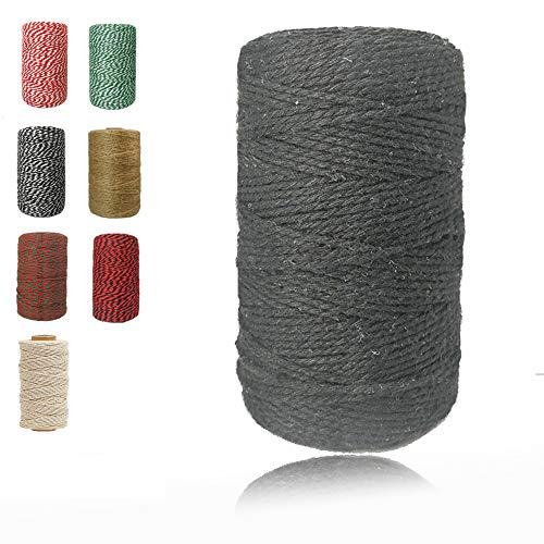 HENSHOW Baumwollschnur 200m, 2Ply Dicke Bäckerschnur Baumwollkordel zum Binden von Geflügelfleisch, Basteln, DIY Handwerk und Dekorieren von Wurst (Schwarz)