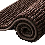 subrtex Bathroom Rugs Chenille Soft Short Plush Bath Mat Non-Slip Water Absorbent Shower Mat Quick Dry Machine Washable(Chocolate,20' x 32')