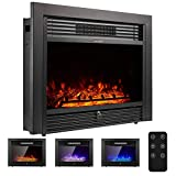 YODOLLA 28.5' Electric Fireplace Insert with 3 Color Flames, Fireplace Heater with Remote Control and Timer, 750w-1500W,Classic Style
