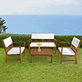 FDW Patio Sofa Set Outdoor Chat Set Patio Conversation Set 4-Piece Acacia Wood Outdoor Seating Set with Water Resistant Cushions and Coffee Table for Pool Beach Backyard Balcony Garden,Natural Oiled
