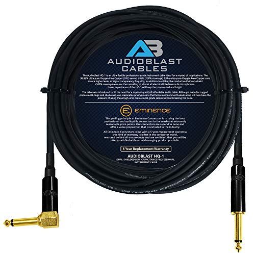 Audioblast - 40 Foot - HQ-1 - Ultra Flexible - Dual Shielded (100%) - Guitar Instrument Effects Pedal Patch Cable w/Eminence Straight & Angled Gold ¼ inch (6.35mm) TS Plugs & Double Staggered Boots