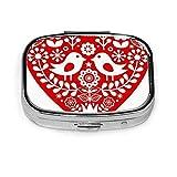 Caja de pastillas cuadrada plateada de moda personalizada de vacaciones de pájaro de arte popular rojo escandinavo soporte para tableta de medicina estuche organizador de cartera