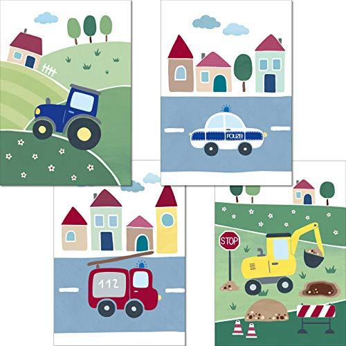 LALELU-Prints | A4 Bilder Kinderzimmer Poster | Süße Fahrzeuge | Babyzimmer Deko Junge Mädchen | 4er Set Kinderbilder (DIN A4 ohne Rahmen)