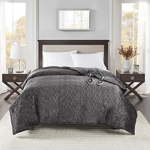 Beautyrest Plush Blanket Pinsonic Quilt Super Soft Electric Throw, Controller with 10 Hours Auto Shutoff and 20 Heat Level Setting - 5 Year Warranty, Twin, Grey