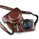 カメラケース Cyber-shot RX100 M2 M3 M4 M5 カメラバック ミラーレス一眼 DCS-RX100シリーズ DSC-RX100M2 DSC-RX100M3 DSC-RX100M4 DSC-RX100M5 対応 PUケース ショルダーベルト付き ボッチ コーヒー (バムジャンプ)