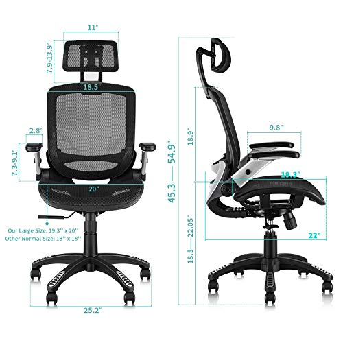 Product Image 7: Gabrylly Ergonomic Mesh Office Chair, High Back Desk Chair - Adjustable Headrest with Flip-Up Arms, Tilt Function, Lumbar Support and PU Wheels, Swivel Computer Task Chair