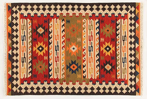 Kilim Carpets by Jalal Kilim Sivas 2 Tappeto, Rosso/Multicolore, 60 X 90 cm