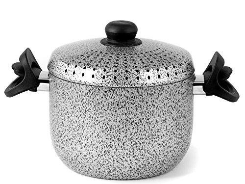 Home Salt N'Pepper Pastaiola in Alluminio, con Coperchio, Rivestimento Antiaderente, 20 cm