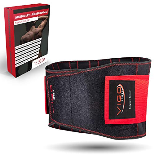 Vigo Sports - Fascia lombare per la schiena, lavabile in lavatrice, anti-sudore, per un'efficace stabilizzazione della schiena, per uomini e donne, supporto lombare