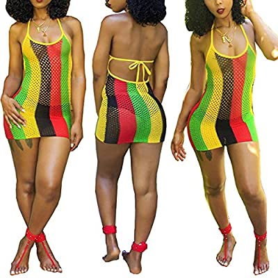 Material: 95% Cotton,5% Spandex. Feature: Spaghetti Strap, hollow out, color block, colourful rainbow stripe,mini length, floral fishnet mesh sheath dress with high slit Occasions: Casual/Beach/Party/Daily/Club/Wedding/Birthday/Office/Formal/Home Bik...