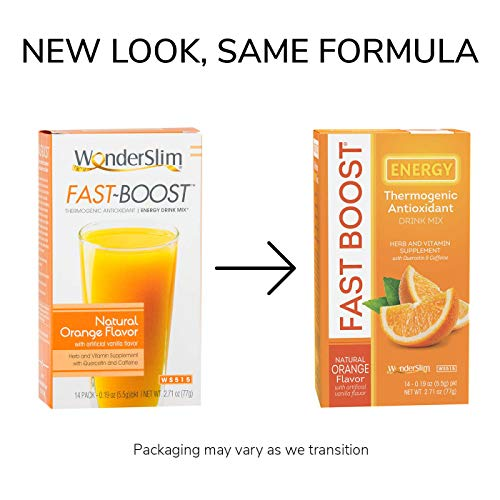 FAST BOOST Energy Boosting Powder Drink Mix by WonderSlim - Antioxidant Drink Mix - With Green Tea, Ginseng, Quercetin and Gingko Biloba – Natural Orange Flavor - 6 Boxes (Save 15%) 5