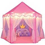 wilwolfer Princess Castle Play Tent for Girls Large Kids Play Tents Hexagon Playhouse with Star Lights Toys for Children Indoor Games (Pink)
