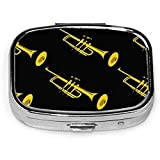 Trompeta dorada, caja de pastillas cuadrada plateada de moda personalizada, soporte para tableta, estuche organizador de cartera para bolsillo o bolso