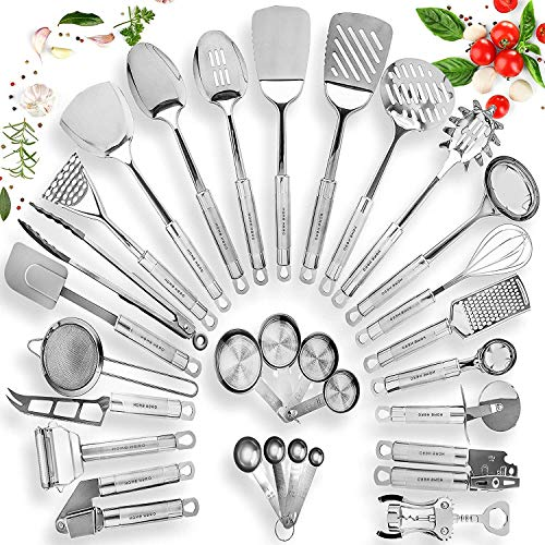 HOME HERO Stainless Steel Kitchen Utensil Set - 29 Cooking Utensils - Nonstick Kitchen Utensils Cookware Set with...