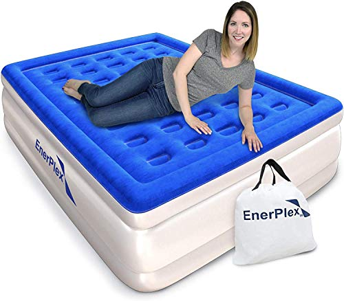 EnerPlex Premium Dual Pump Luxury Queen Size Air Mattress Airbed with Built in Pump Raised Double High Queen Blow Up Bed for Home Camping Travel 2-Year Warranty