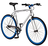 Schwinn Stites Single-Speed Fixie Bike, Featuring 55cm/Medium Steel Stand-Over Frame with 700c Wheels and Flip-Flop Hub, Perfect for Urban Commuting and City Riding, Silver