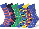 Easton Marlowe Dress Socks 10-13 - Colorful Socks for Men - Cotton Mens Dress Socks - Patterned Fashion Mens Socks - Happy Fun Socks Music Notes - 6 Pack #1