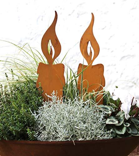 LB H&F Lilienburg Weihnachtsdeko Roststecker Rost Metall wetterfest (2er Set Kerze)