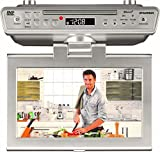 Sylvania 10' Under Cabinet Counter Kitchen TV with Built in CD/DVD Player, HDMI, Bluetooth, USB, and FM Radio