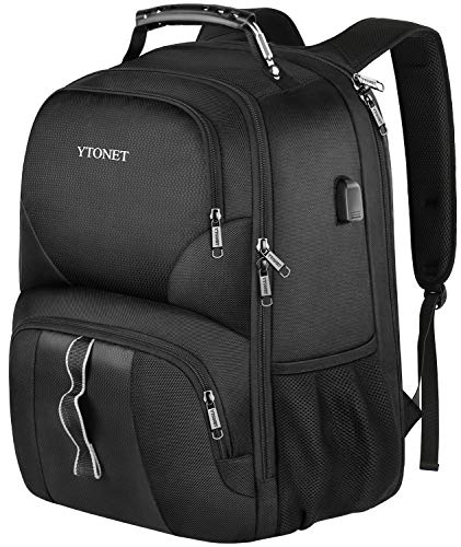 Ytonet Travel Laptop Backpack, Extra Large Anti Theft TSA Friendly Water Resistant Durable Travel Backpack with USB Charging Port, College School Bookbag for Men Woman Fits 17 Inch Notebook, Black