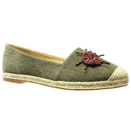 Angkorly - Zapatillas Moda Alpargata Mocasín Slip-on Jeans Denim Mujer Joyas fantasía Bloque 2 CM - Verde RS135 T 37