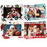 48 Christmas Photo Frame Greetings Cards - Photo Sleeve Christmas Cards Fits 4x6 Photo Insert - Holiday Picture Holder Greeting Note Cards - 4 designs 12 of each