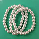 3pc Small Vintage Inspired White Faux Pearl Bracelets for Breakfast at Tiffany, Party Favor, Wedding / 8mm