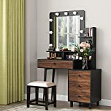 Tribesigns Vintage Vanity Table with Lighted Mirror, Vintage Makeup Dressing Table with Large Drawer and 3-Drawer Chest, Dresser Table for Women (Rustic)