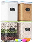 Extra Large Tall Food Storage Containers 175oz, For Flour, Sugar, Baking Supplies - Airtight Kitchen & Pantry Bulk Food Storage, BPA-Free - 4 PC Set - Measuring Scoops, Pen & 8 Labels - Chef's Path