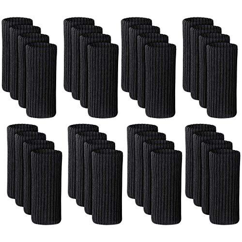 Tiamu Set di 32 calze per sedia, calzini per sedia ad alta elasticit Usato per proteggere il pavimento, antiscivolo e abbattimento acustico, Nero