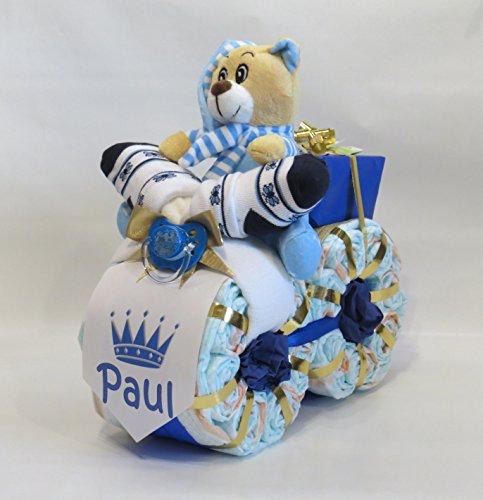 "Windeltorte - Windelmotorrad\""Prinz\"" blau"