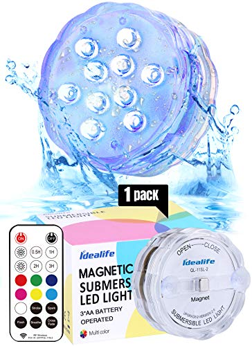 Idealife Unterwasser Licht mit Fernbedienung Timer, magnetische Multi Farbwechsel Wasserdichte LED Leuchten Batteriebetriebenes für Whirlpool Vasen Party Weihnachten Schwimmbad Garten Dekoration
