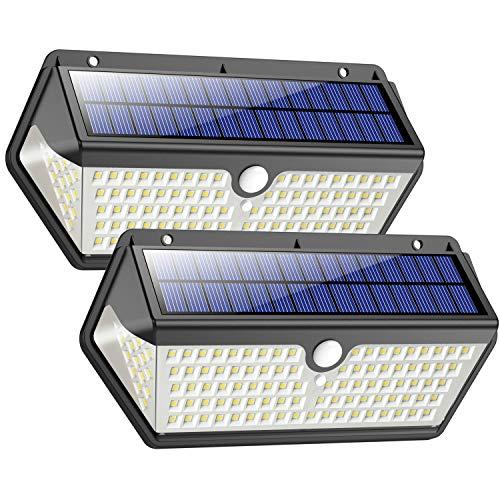 Lampade Solari a da Led Esterno,Impermeabile Versione durevole Trswyop 128LED Luce Solare Led Esterno con Sensore di Movimento 2200 mAh Luci Solari Risparmio Energetico per Giardino -2 Pezzi