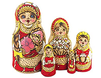Vivd coloration handmade hand painted collectible Russian wooden stacking nesting doll dolls Individually hand painted Russian nesting dolls for girls - 5 nested - Matryoshka set of dolls of different sizes placed one in another 7 inch tall - In Russ...