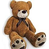 Grand Nounours Ours en Peluche géant XL Brun Teddy Bear 150 cm Doux Moelleux