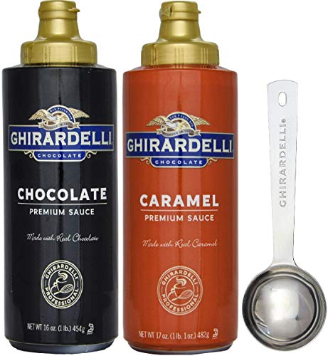 Ghirardelli - 17 Ounce Caramel, 16 Ounce Chocolate Sauce Squeeze Bottles (Set of 2) - with Limited Edition Measuring Spoon